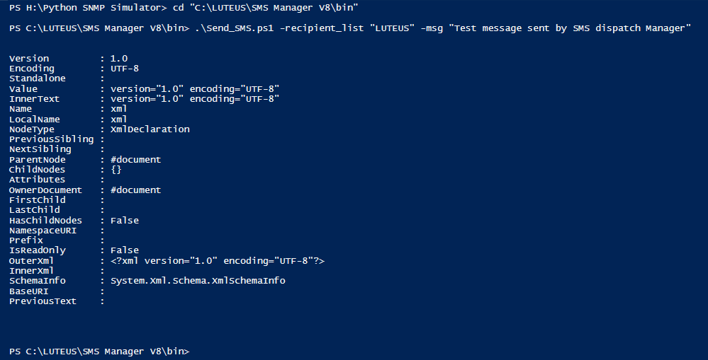 Sending SMS with Powershell script